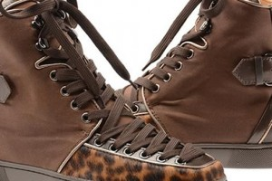 Christian Louboutin Calf Hair & Leather Hi-Top Trainers
