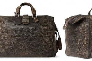 Gucci Burnished Crocodile-Embossed Leather Holdall