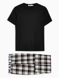 Topman Black And Ecru T-shirt And Bottoms Loungewear Set